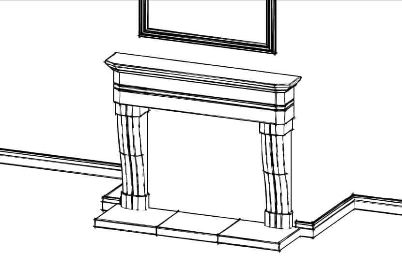 Fireplace concept sketch, Sandridge Stone Fireplaces, Limestone, Bath Stone, Portland Limestone, Melksham, Wiltshire