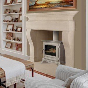 Beautiful living room in expensive home with burning fireplace and large blank picture over the mantle shelf,