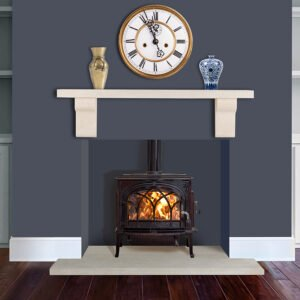 A gas burning fireplace in a new home, Mantel shelf, Limestone Shelf, Sandridge Stone Fireplaces, Limestone, Bath Stone, Portland Limestone, Melksham, Wiltshire