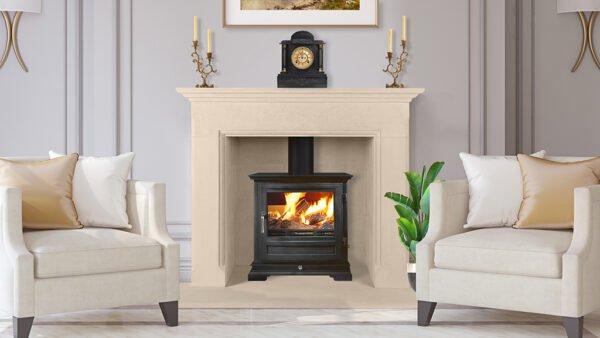 Interior with Carved stone fireplace in neoclassic style, Sandridge Stone Fireplaces, Limestone, Bath Stone, Portland Limestone, Melksham, Wiltshire
