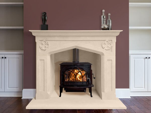 Interior with Carved stone fireplace in gothic style, Sandridge Stone Fireplaces, Limestone, Bath Stone, Portland Limestone, Melksham, Wiltshire