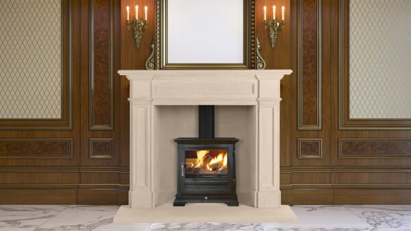 A classic interior with wood paneling and a picture frame above the fireplace, Sandridge Stone Fireplaces, Limestone, Bath Stone, Portland Limestone, Melksham, Wiltshire