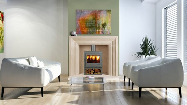 Limestone carved fireplace with log burner fire, white sofa and armchairs, Sandridge Stone Fireplaces, Limestone, Bath Stone, Portland Limestone, Melksham, Wiltshire