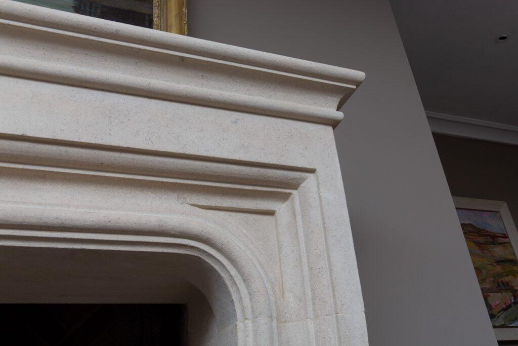 Corner of limestone fireplace mantel shelf, Fireplace Sandridge Stone Fireplaces, Limestone, Bath Stone, Portland Limestone, Melksham, Wiltshire