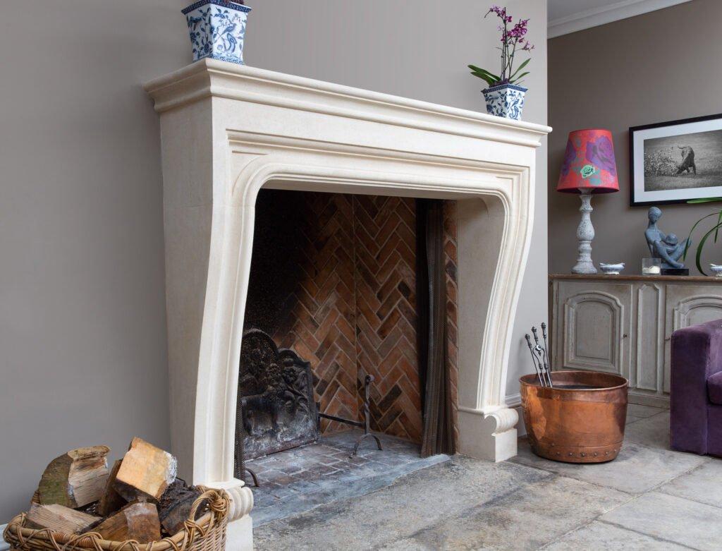 bath stone fireplace installation in new build, Rural living, log burner, Sandridge Stone Fireplaces, Limestone, Bath Stone, Portland Limestone, Melksham, Wiltshire