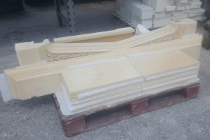 Carved Bath Stone Fireplace in pieces waiting to be assembled,